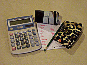 A bazaarista's trusty toolkit would include: a calculator, a bag for purchases, a shopping list, and of course, a wallet