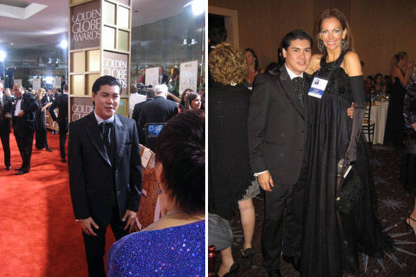 Oliver with former Miss Universe Margaret Gardiner, member of the Hollywood Foreign Press Association, at the 2010 Golden Globes in Beverly Hills. Ms. Gardiner wears one of his gowns.