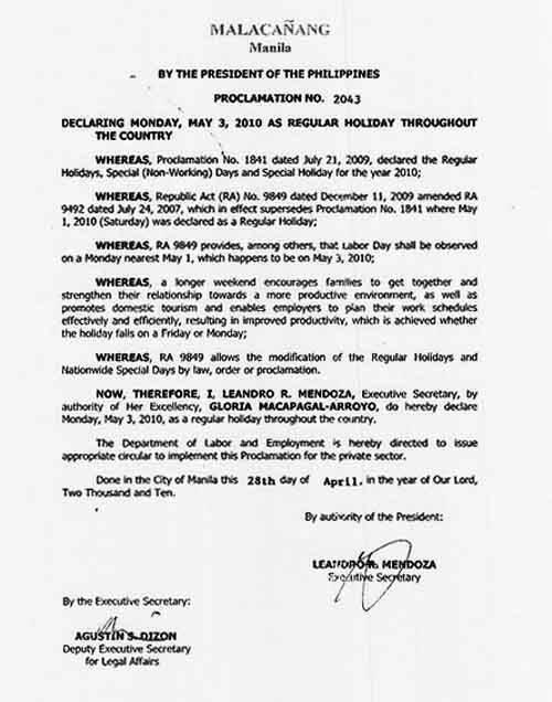 Proclamation #2043