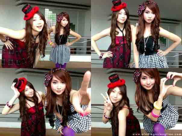 Ashley (left) and Alodia (right) Gosiengfiao ham it up for the camera.