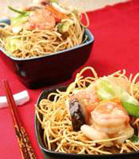Crispy Noodles with Assorted Seafood by Katherine Sion