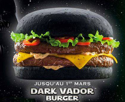 Quick's Darth Vador Burger (Screenshot from Adweek)