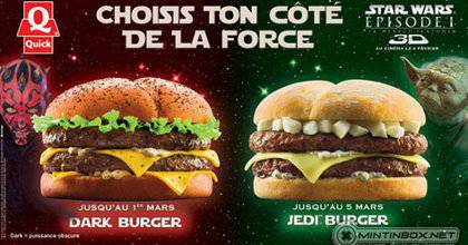Quick's Dark Burger and Jedi Burger (Screenshot from Adweek)