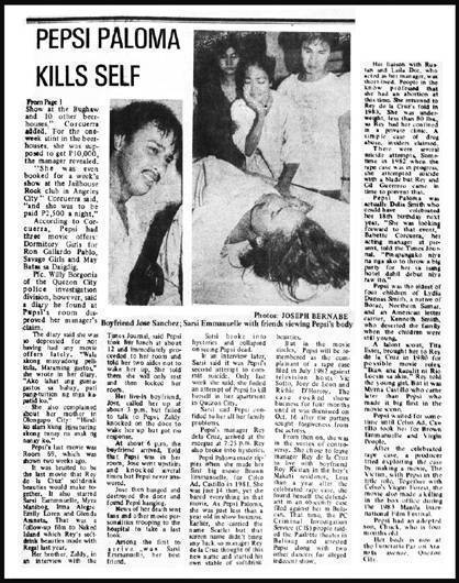 Pepsi Paloma Kills Self News Clipping