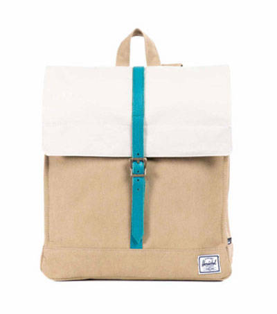 City Backpack Mid-Volume Canvas in Washed Khaki and Bone