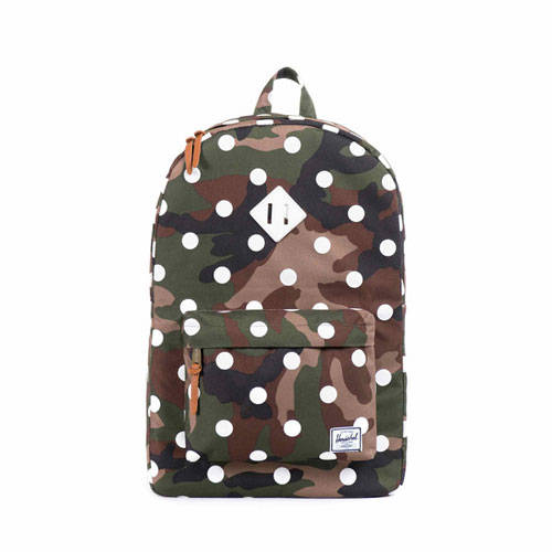 Heritage Backpack in Woodland Camo and Polka Dot