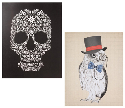 Skull/Dapper Owl Print on Canvas