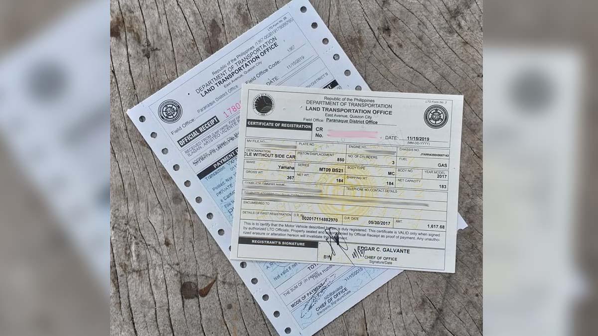 vehicle registration OR/CR