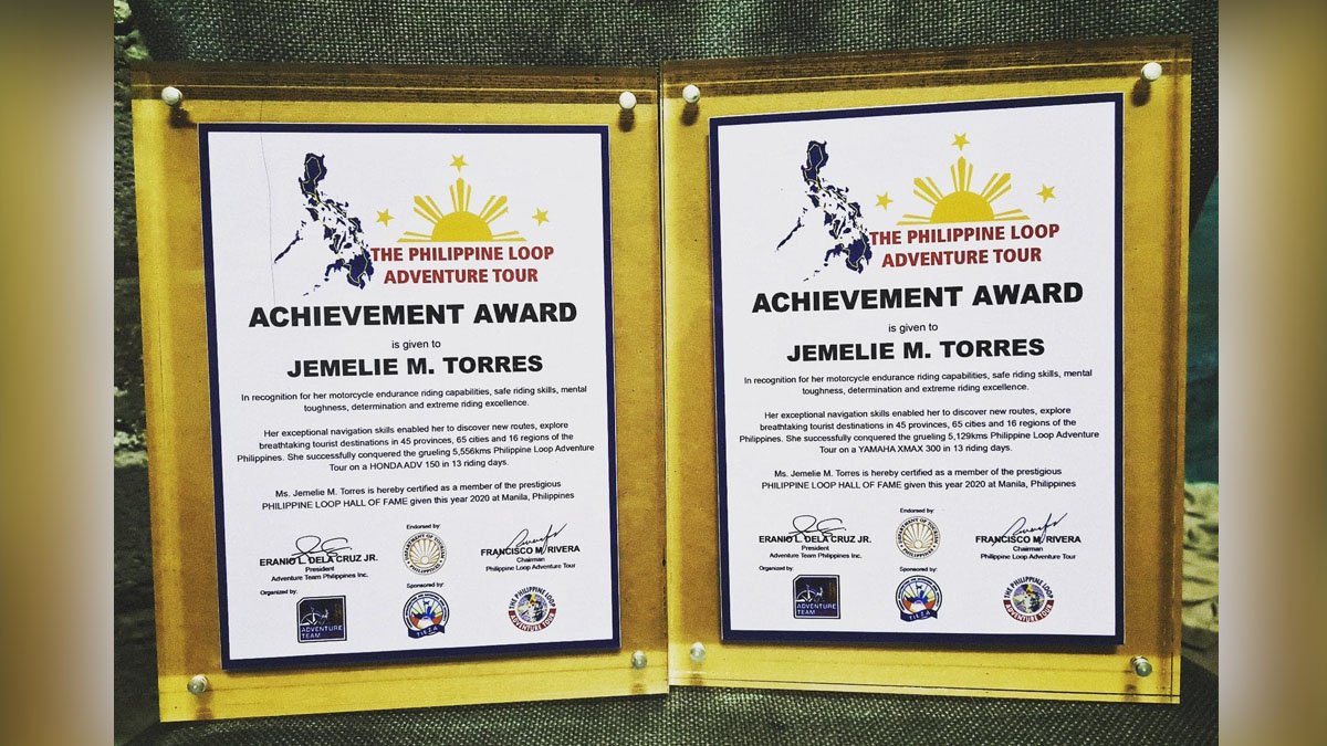 Jemelie Torres Philippine Loop Adventure Tour Award