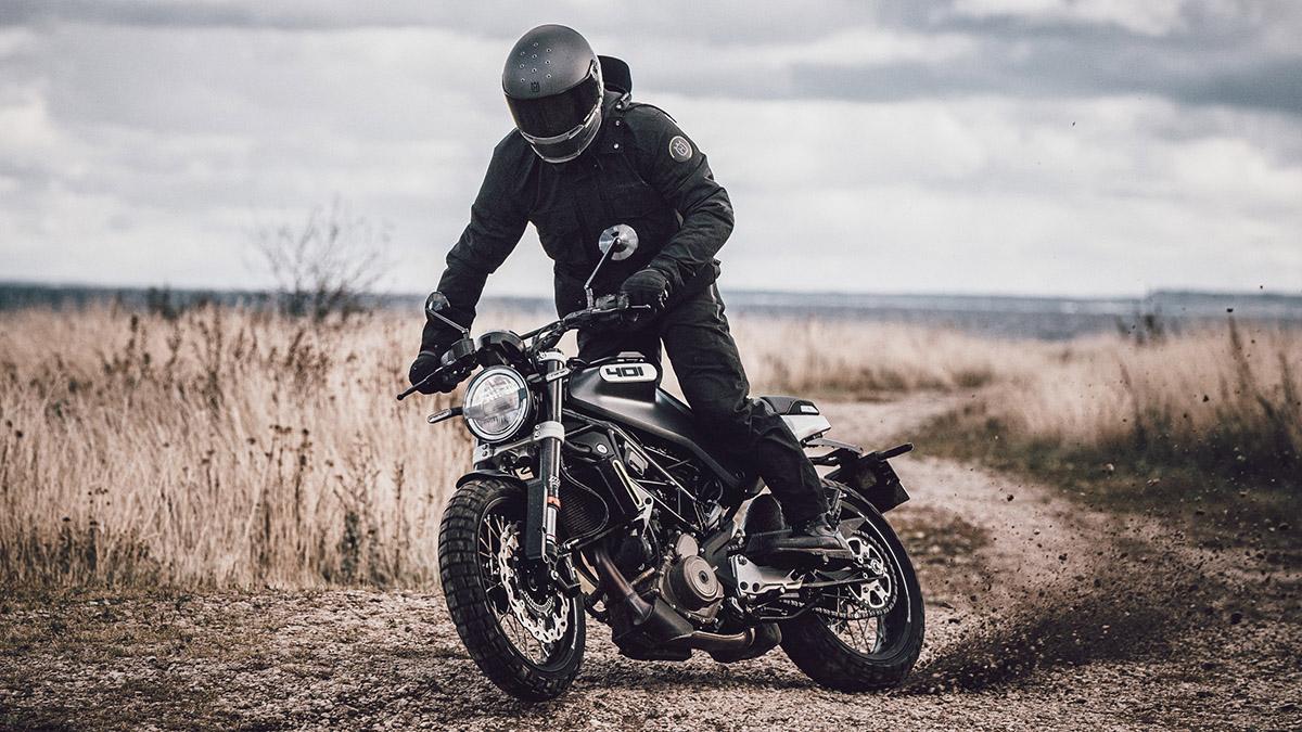 Man riding the Husqvarna motorbike