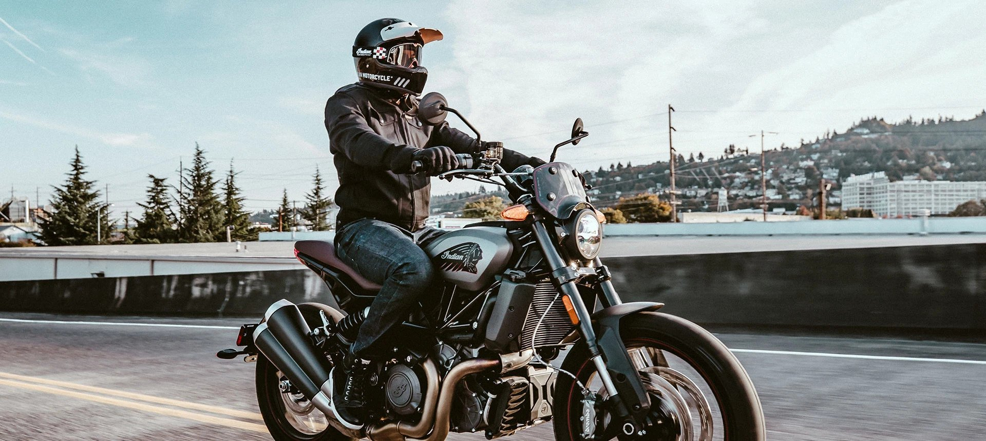 Man Riding the Indian Motorcycle 2021 FTR Rally