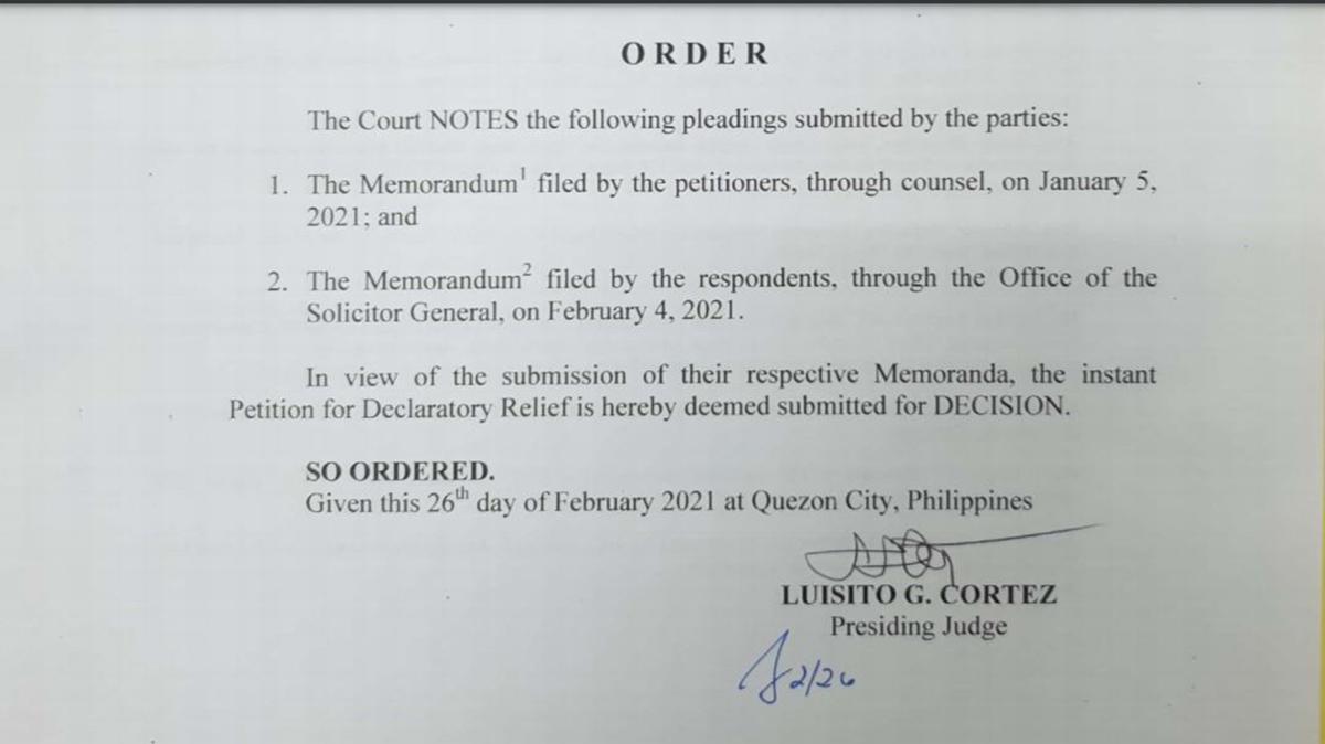 QC RTC decision regarding the petition filed against Republic Act No. 11235