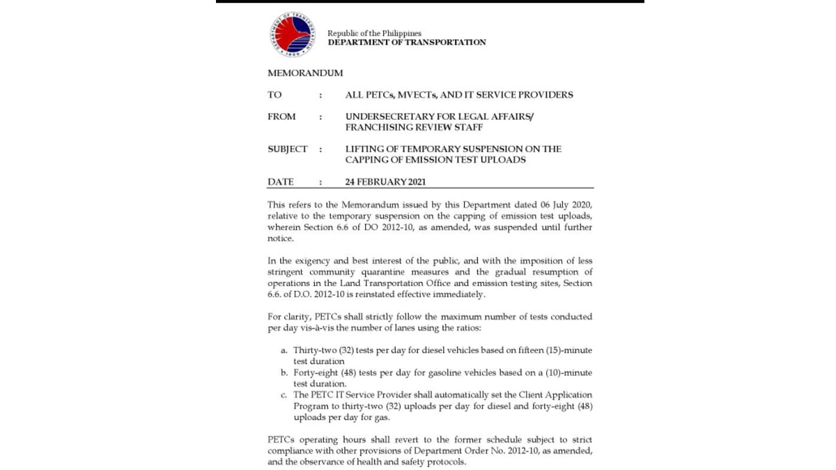 DOTr Memorandum Order on the Suspension on the Capping of Emission Test Uploads