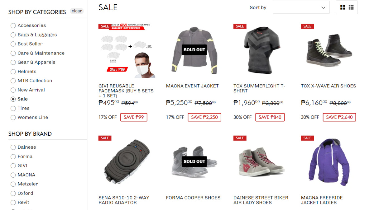 Motorcycle gear online shopping