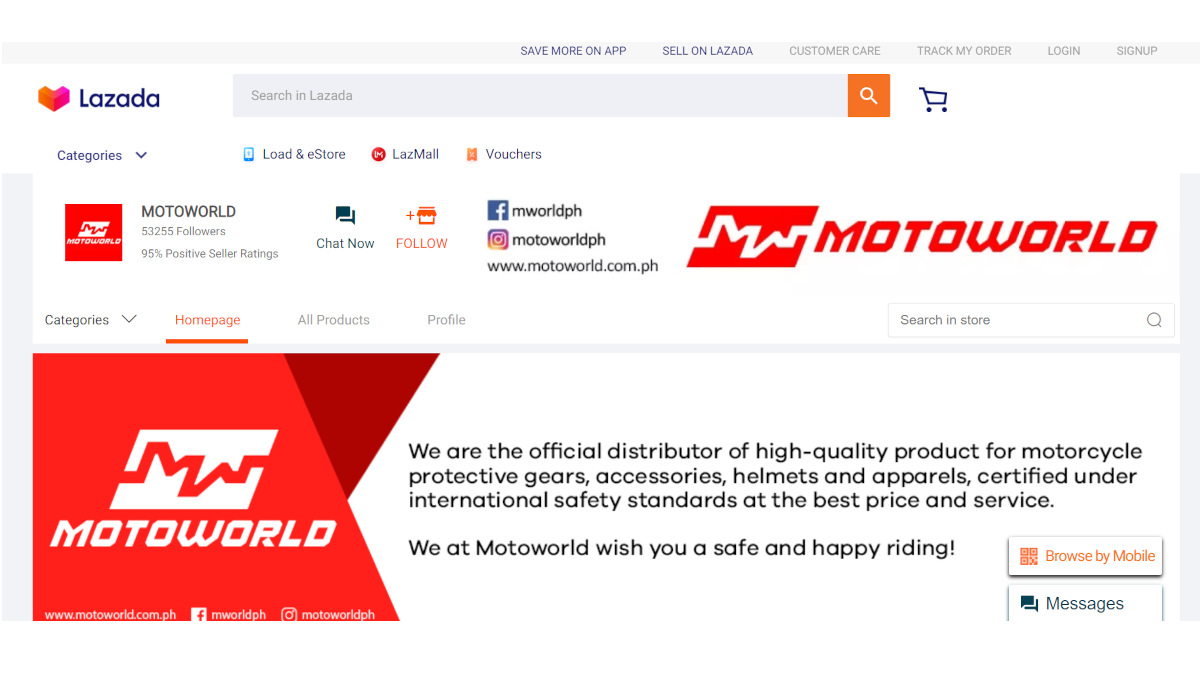 Motorcycle gear online store