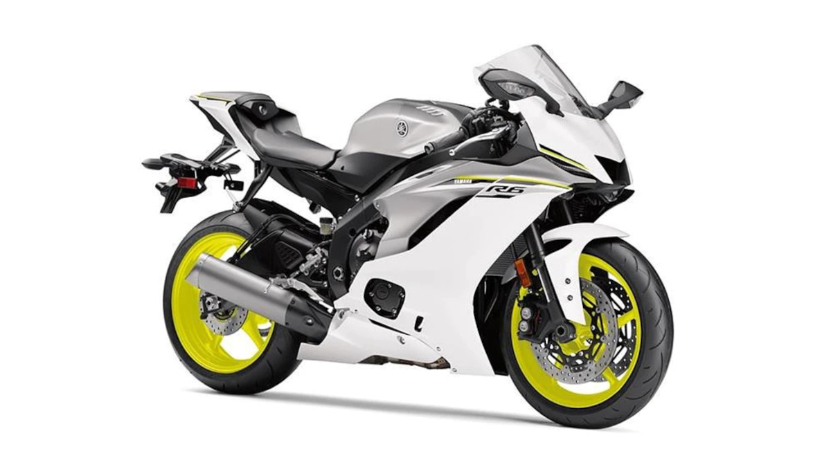 Yamaha YZF-R15 in a cool silver color scheme with fluorescent yellow wheels