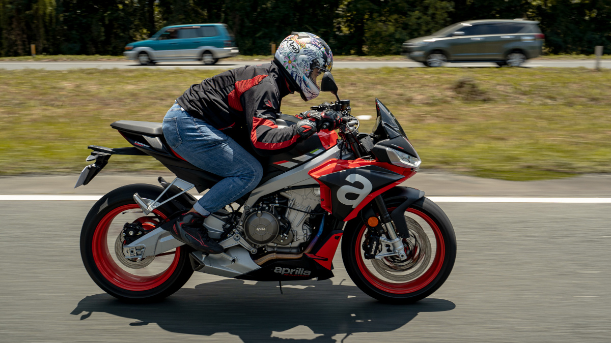 Man riding the 2021 Aprilia Tuono 660