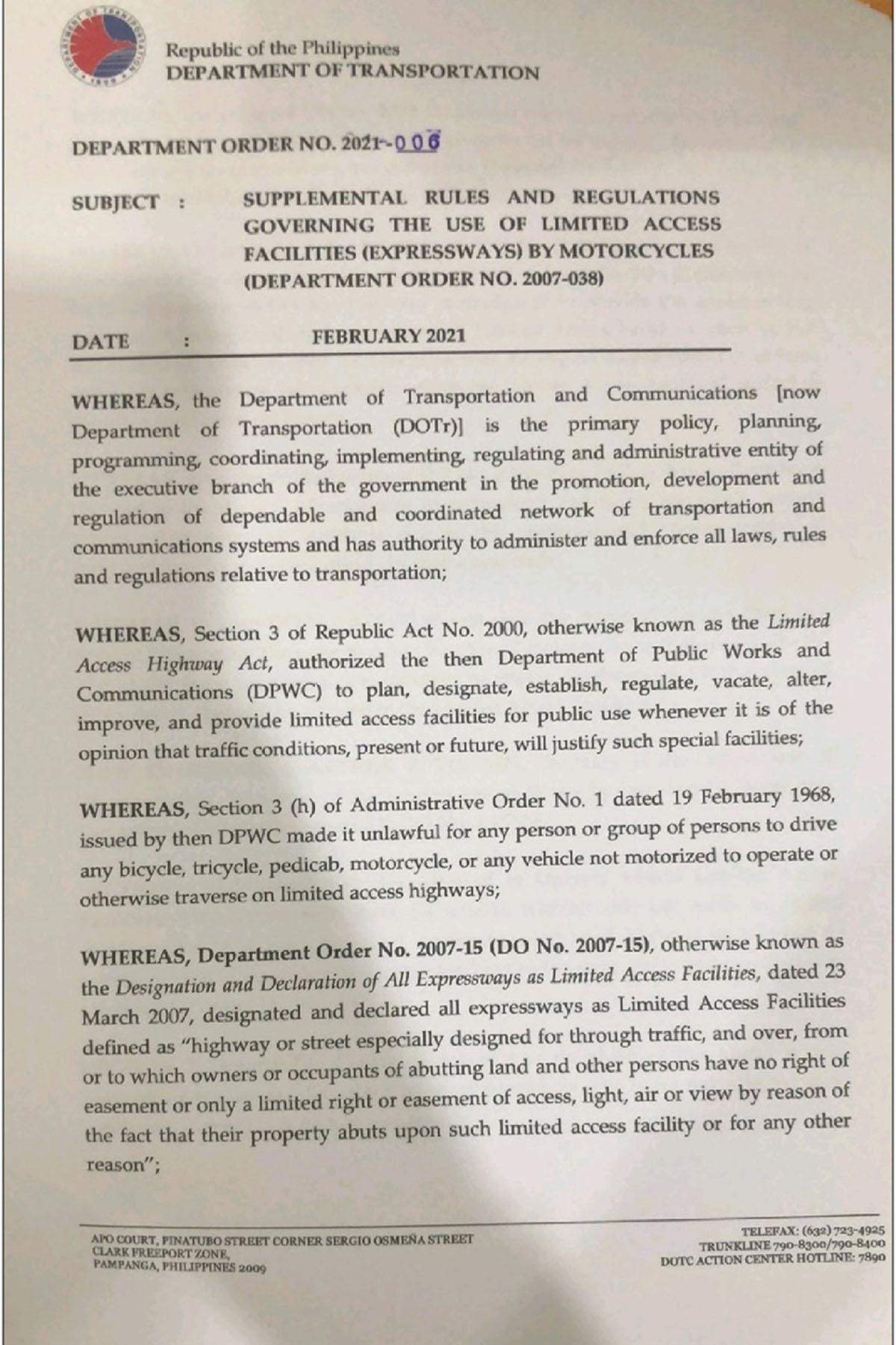 Supplemental Rules and Regulations Governing the Use of Limited Access Facilities (expressways) by Motorcycles