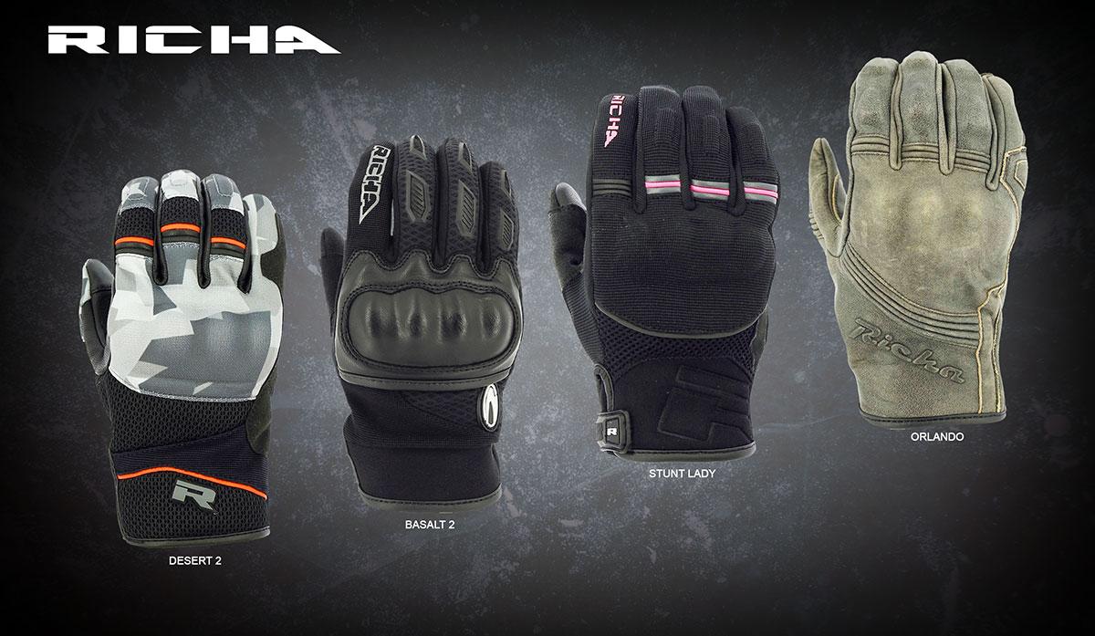 Desert 2, Basalt 2, Stunt Lady, and Orlando gloves