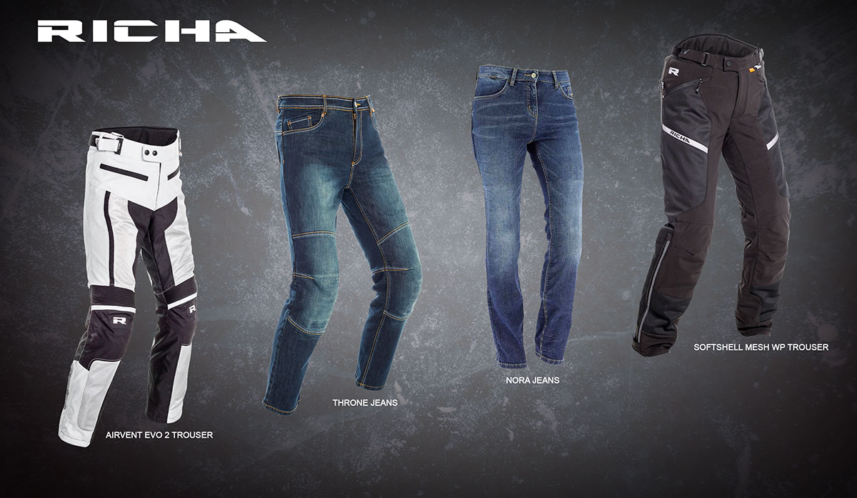 Airvent Evo 2 and Softshell Mesh WP trousers; Throne and Nora jeans