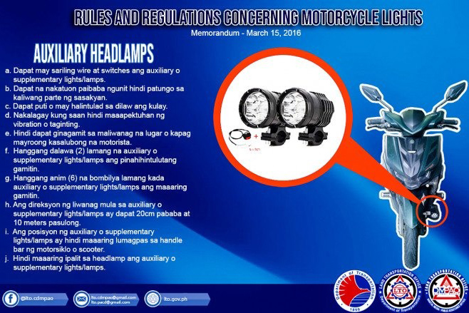 Rules and Regulations on Motorcycle Auxiliary Lights