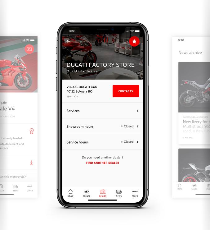 MyDucati app dealership features