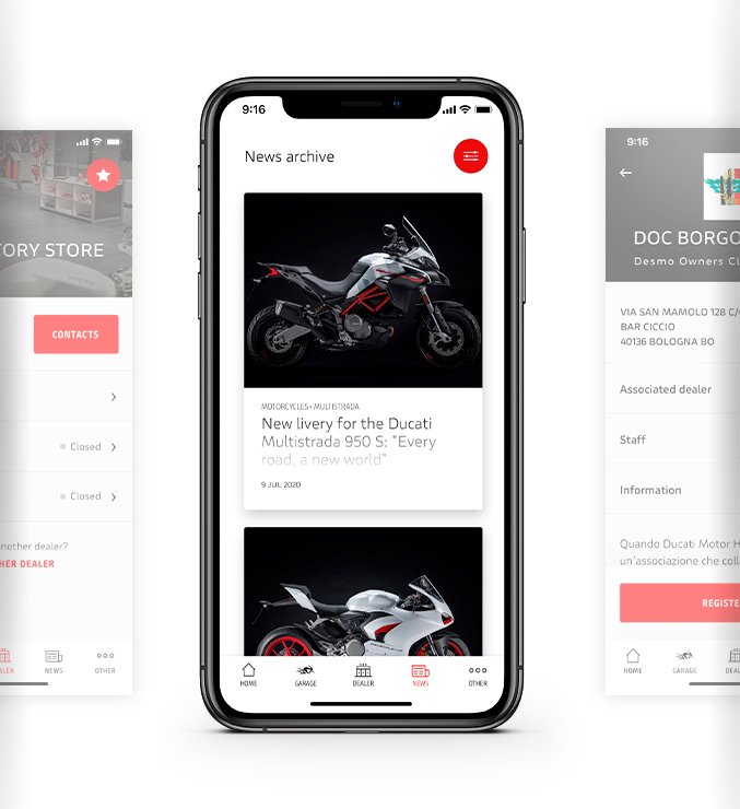 MyDucati app News and Events features