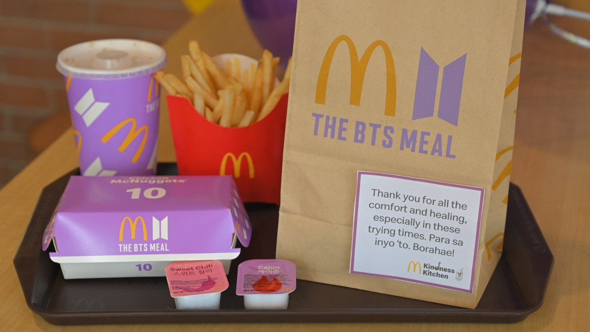 McDonald's BTS Meal has 10-piece Chicken McNuggets, medium fries, a medium Coca-Cola, and Sweet Chili and Cajun dipping sauces