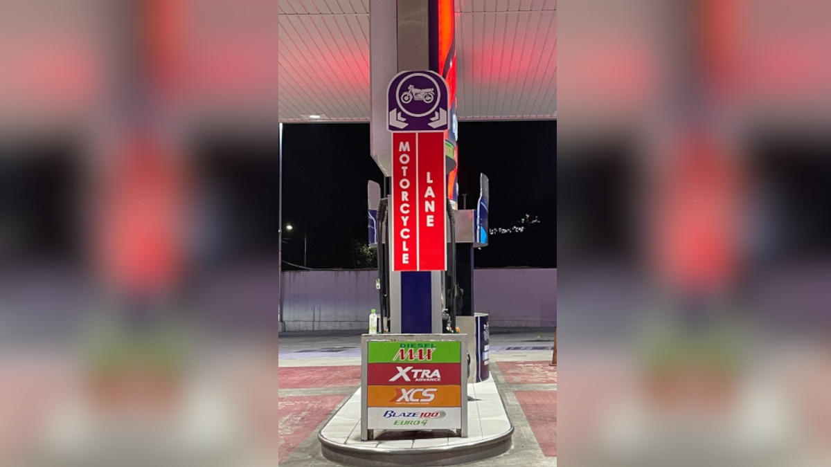 Petron has set up designated motorcycle lanes for motorcycles and tricycles at several of its fuel stations
