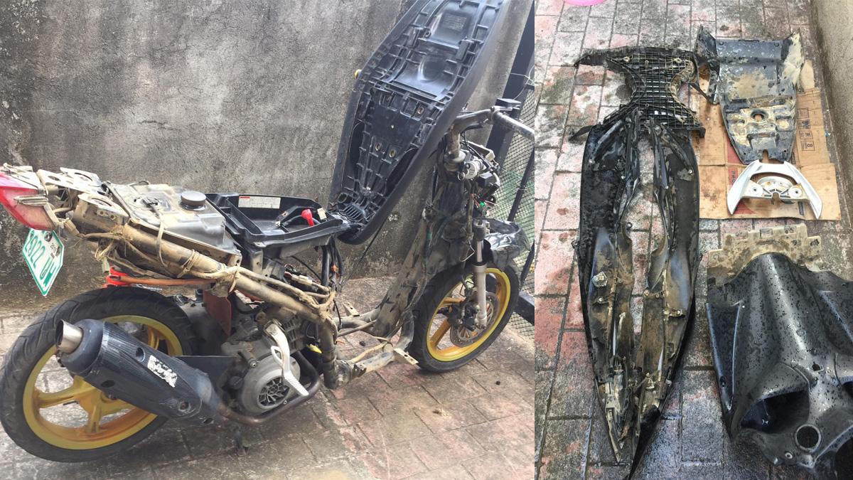Suzuki Skydrive scooter submerged in flood