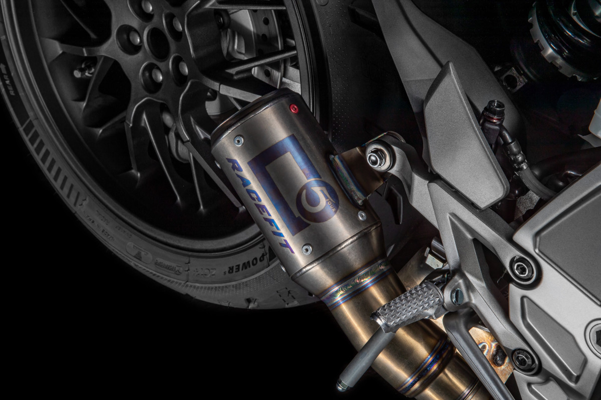 2021 Honda CB1000R 5Four Racefit titanium Growler-X exhaust with laser-etched 5Four and Racefit logos