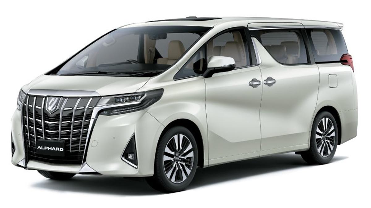 A white Toyota Alphard on a white background