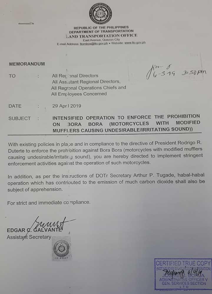 LTO Regulations: Unauthorized Motorcycle Parts and Accessories