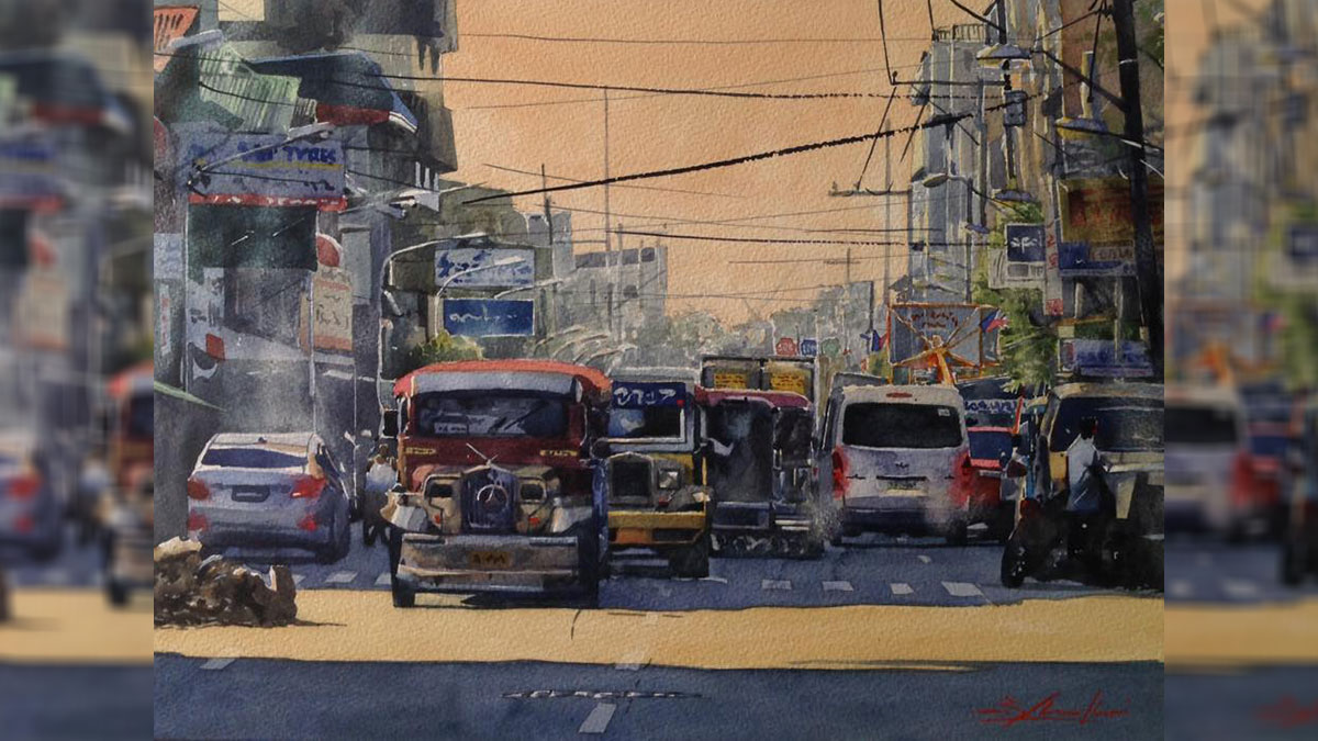 Check out these stunning watercolor images of Metro Manila traffic