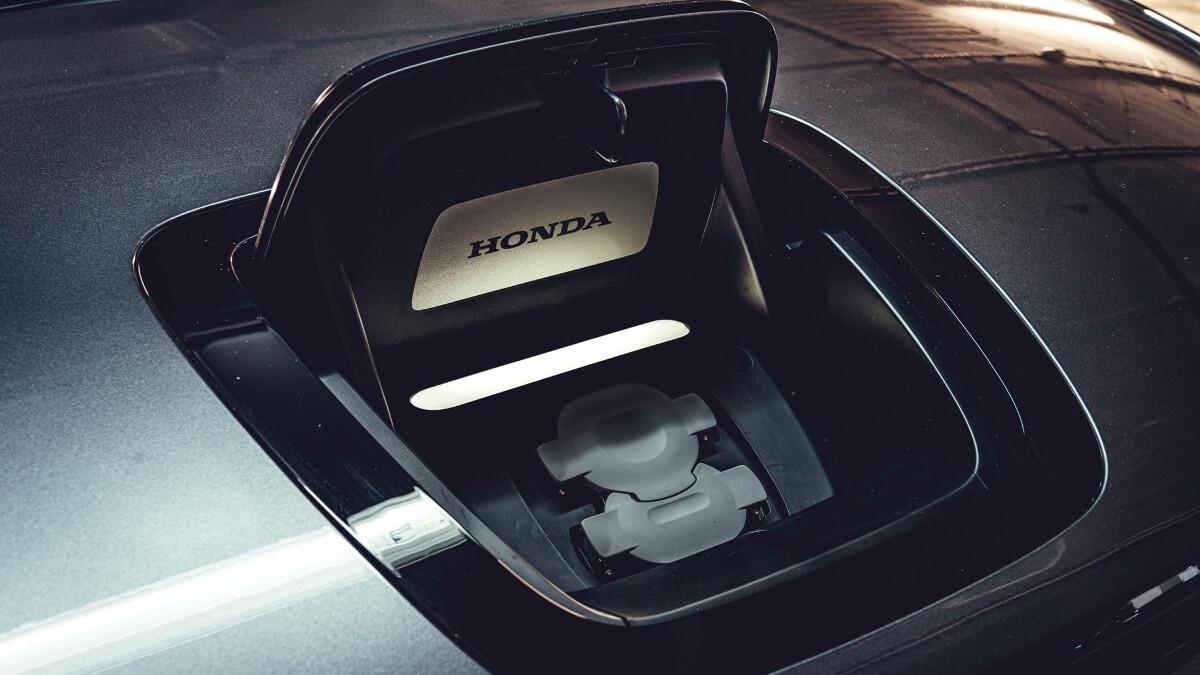 The Honda E charging port