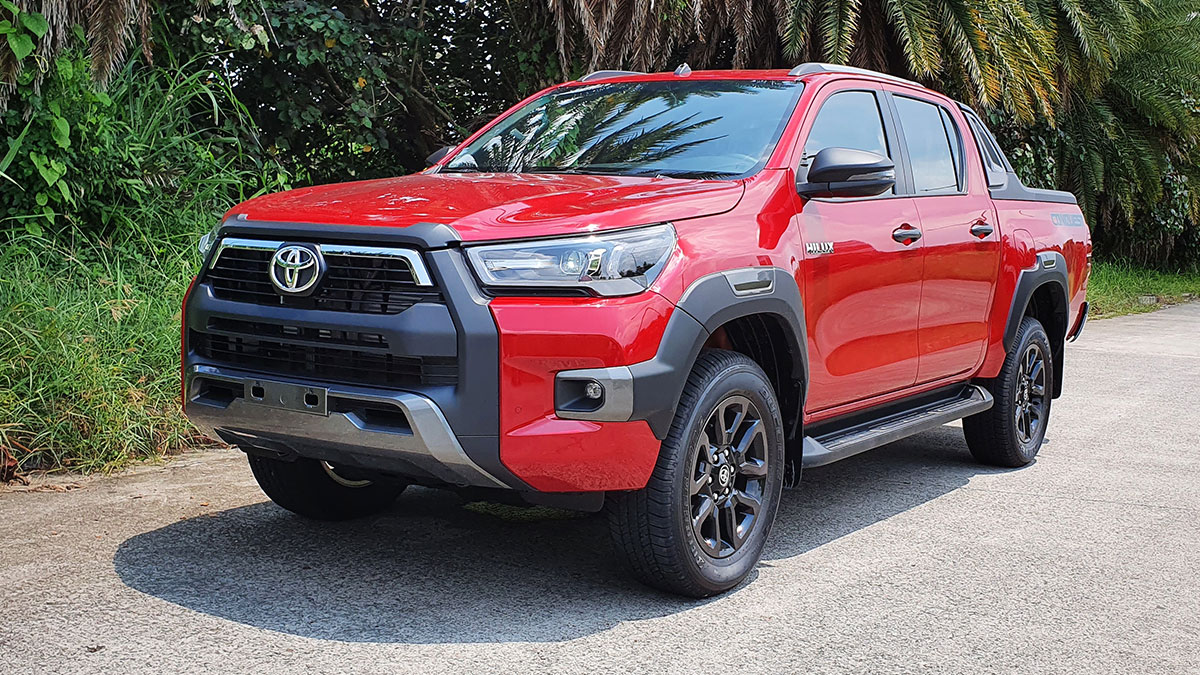The Toyota Hilux parked by the road