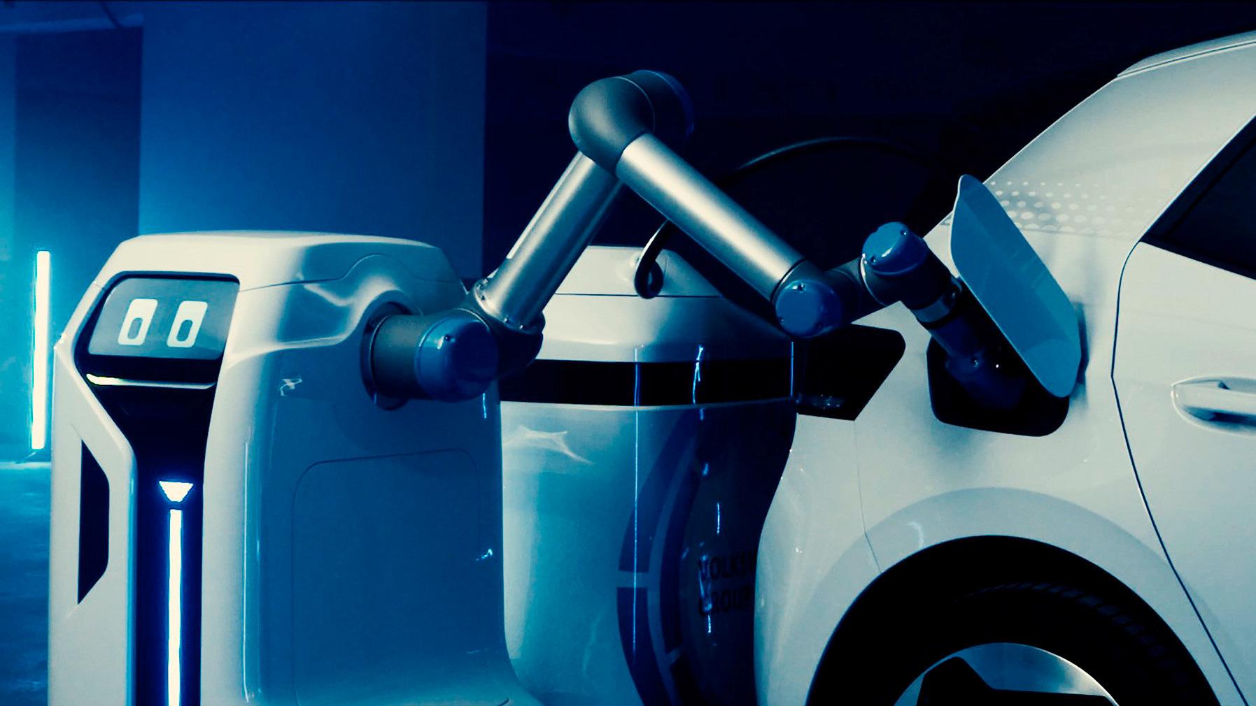Volkswagen reveals mobile EV charging robot