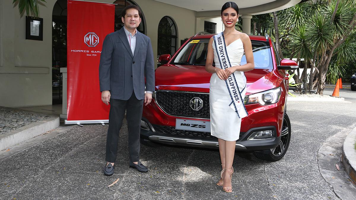 Miss Universe PH Rabiya Mateo with Alberto Arcilla and the MG ZS