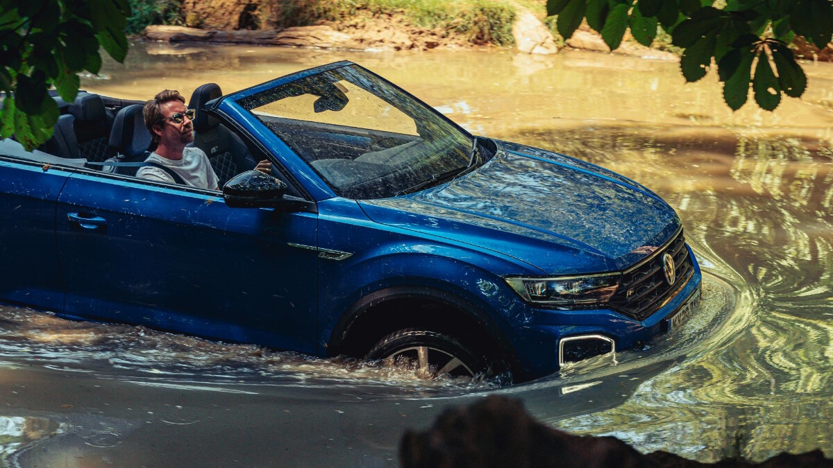 The VW T-Roc Cabriolet submerged