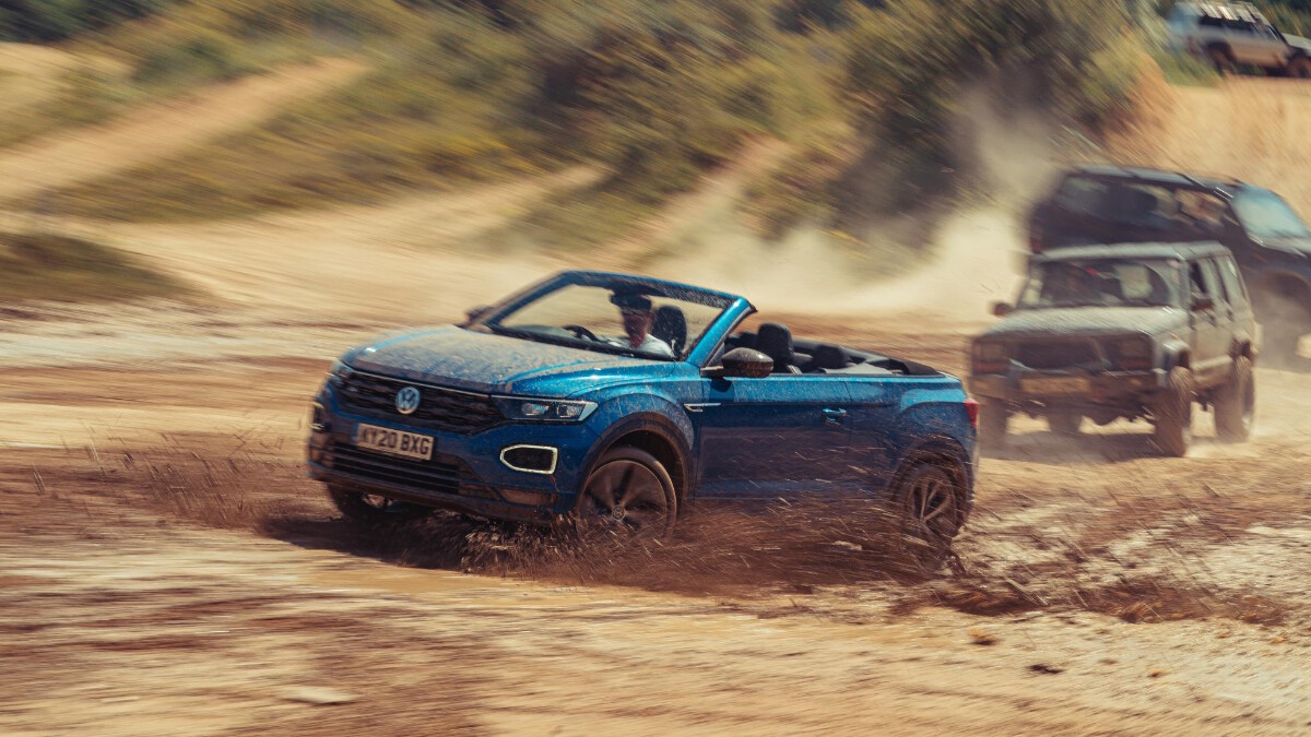 The VW T-Roc Cabriolet in rough off-road
