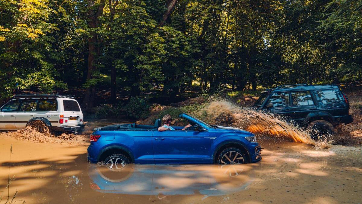 The VW T-Roc Cabriolet under mud