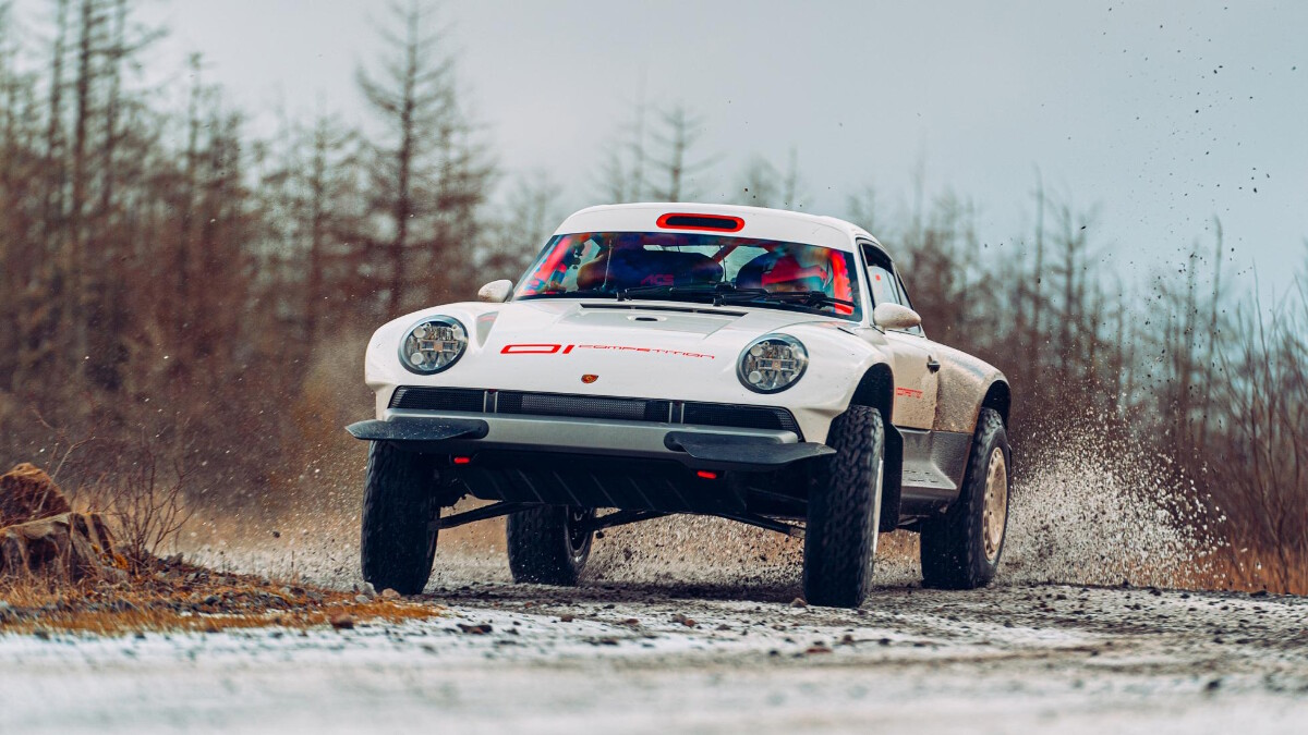 The Singer Porsche 911 All-Terrain Competition Study in action