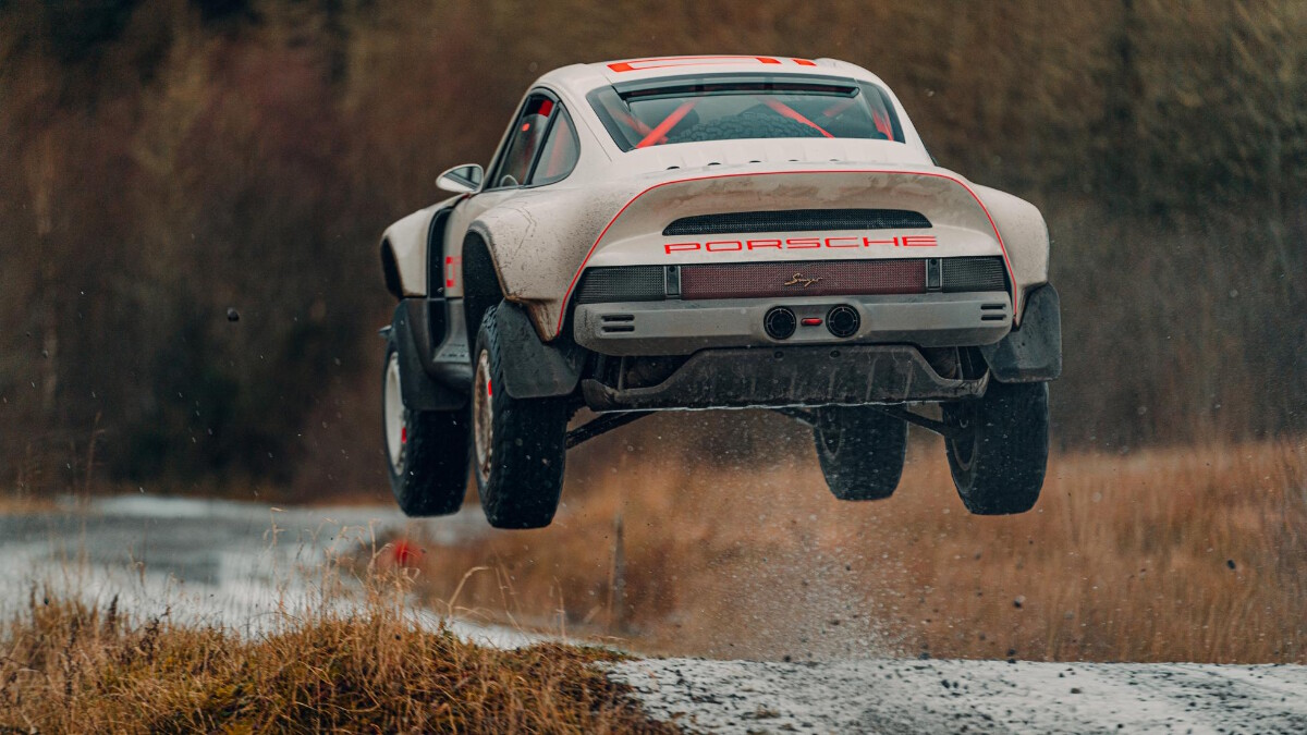 The Singer Porsche 911 All-Terrain Competition Study in action - Air Time