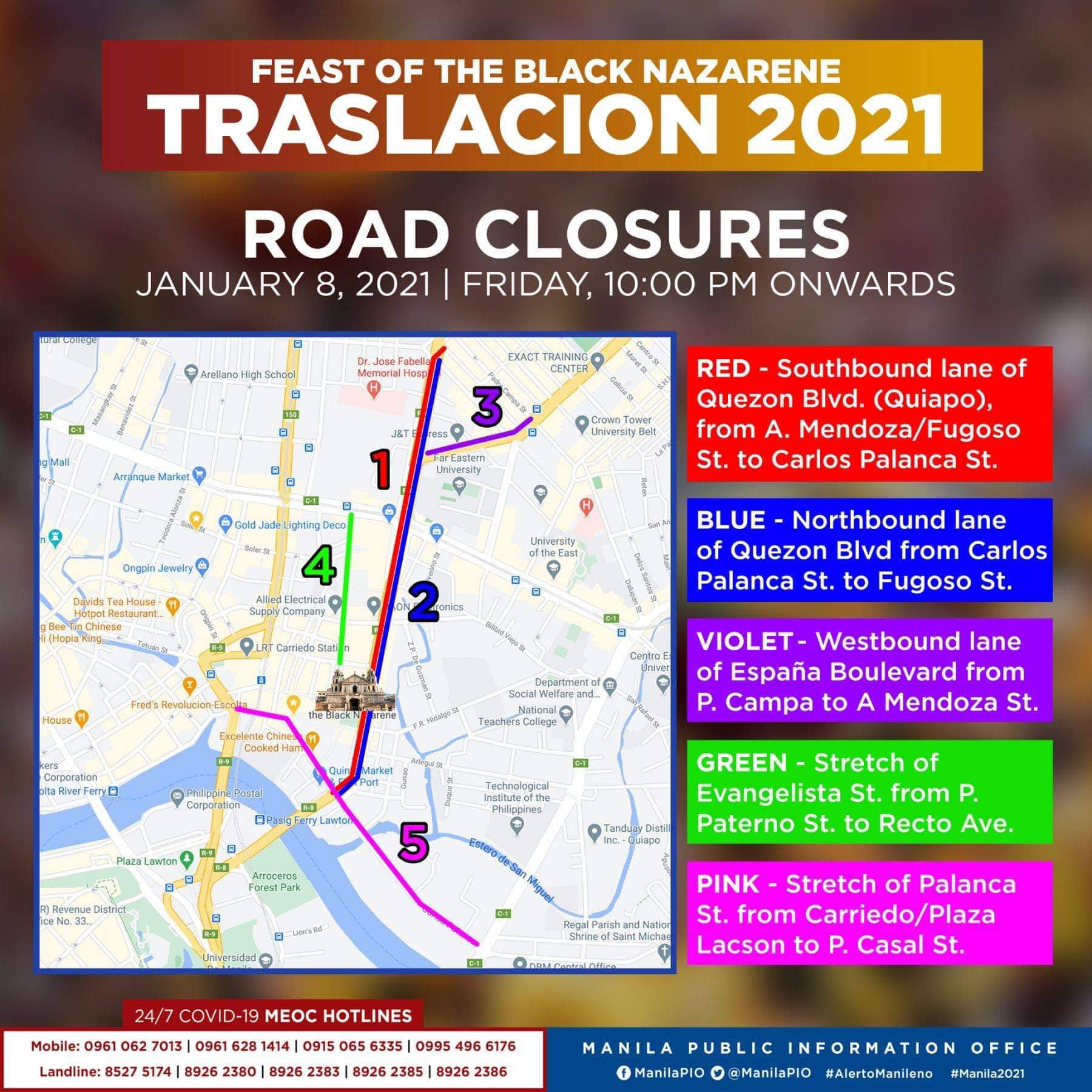 Traslacion Road closures on January 8, 2021 (10 pm onwards)