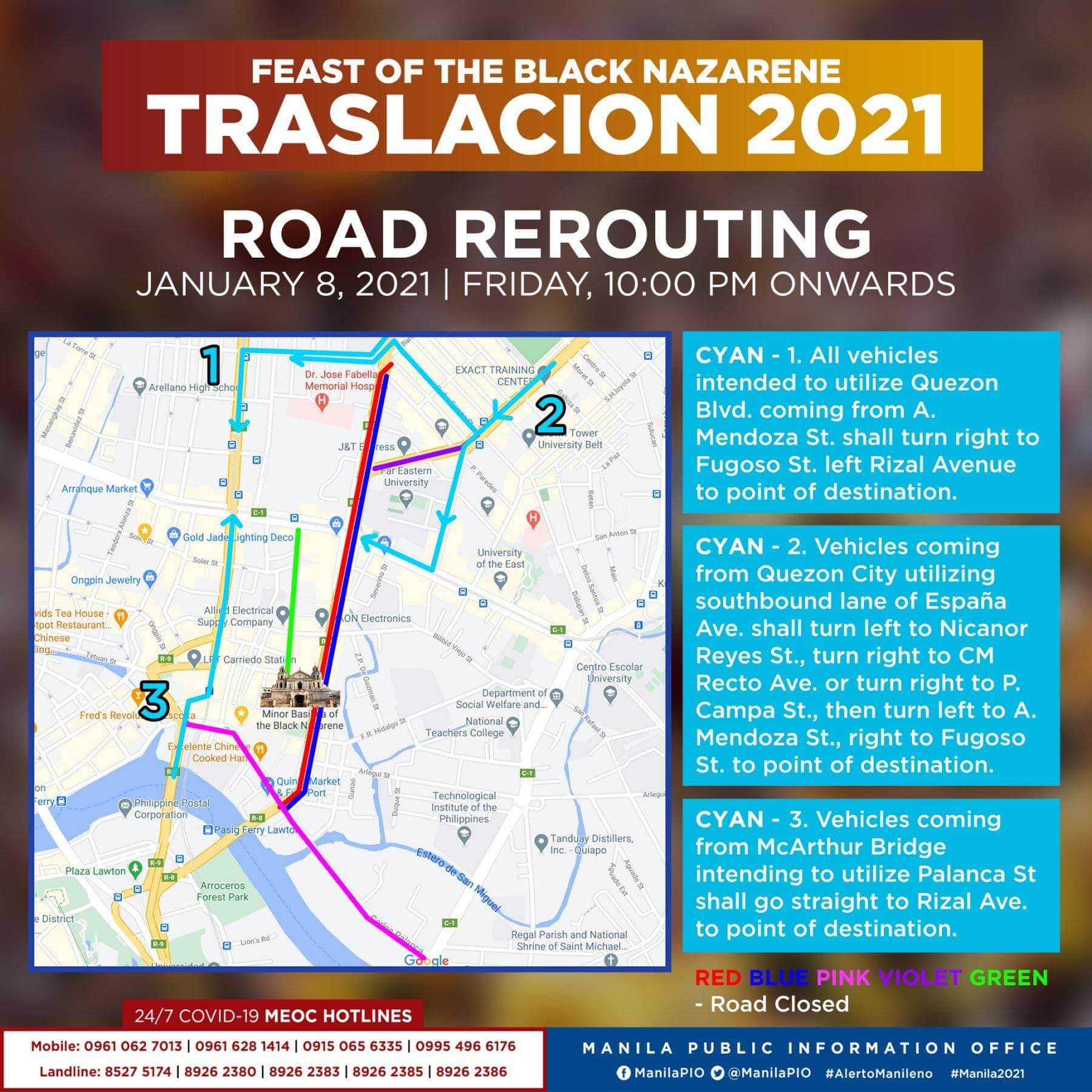 Traslacion Road rerouting on January 8, 2021 (10 pm onwards)