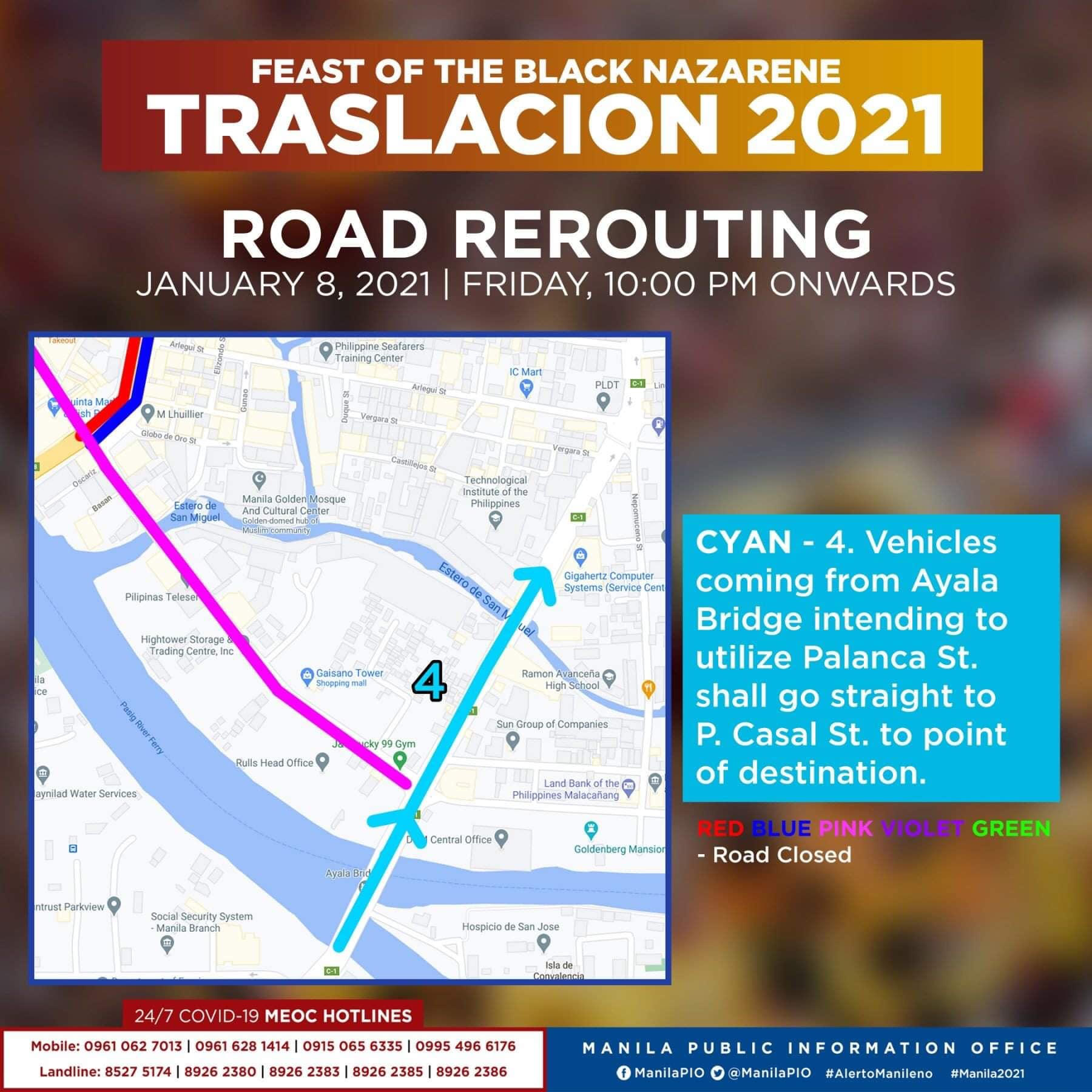 Traslacion Road rerouting on January 8, 2021 (10 pm onwards) - P. Casal St