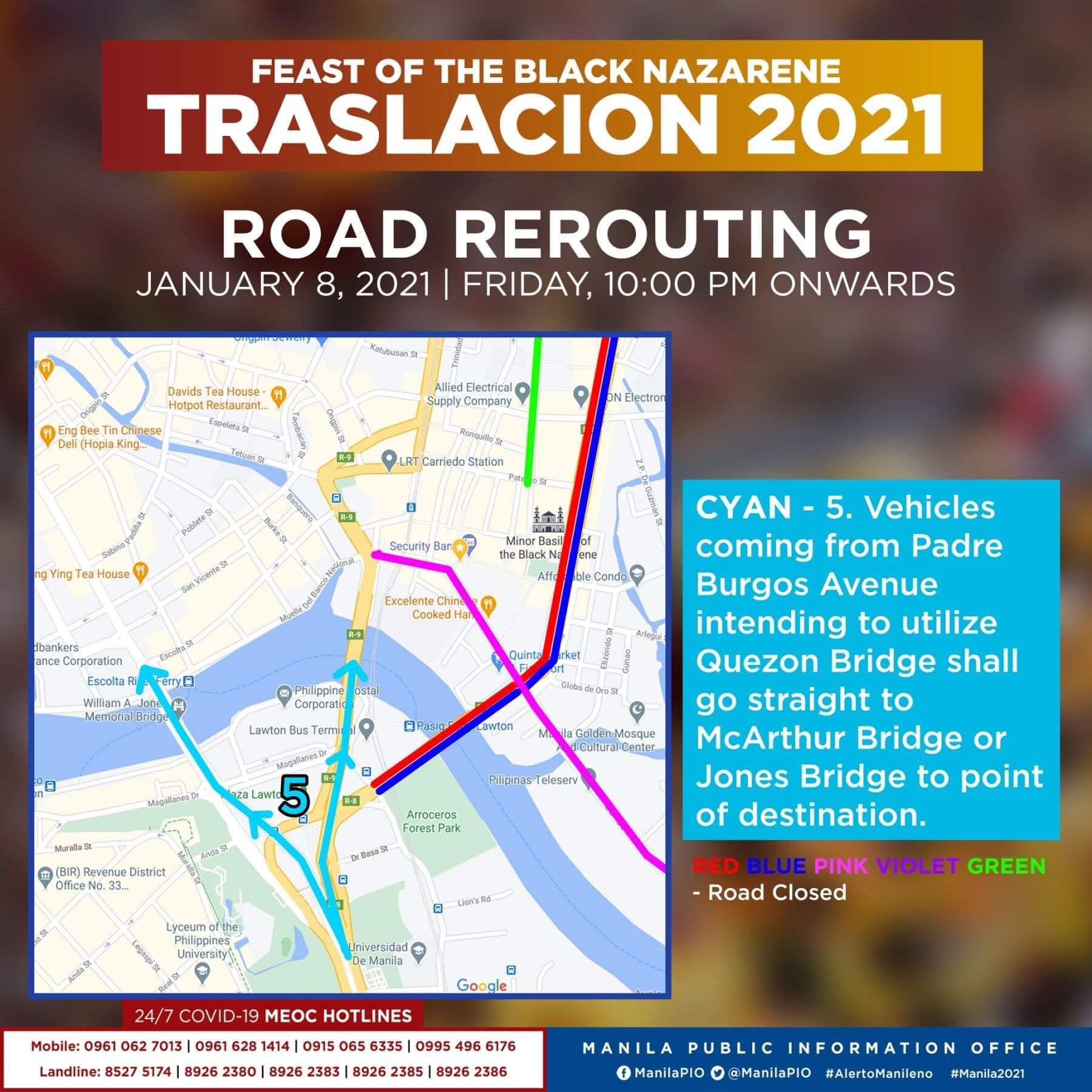 Traslacion Road rerouting on January 8, 2021 (10 pm onwards) - McArthur Bridge