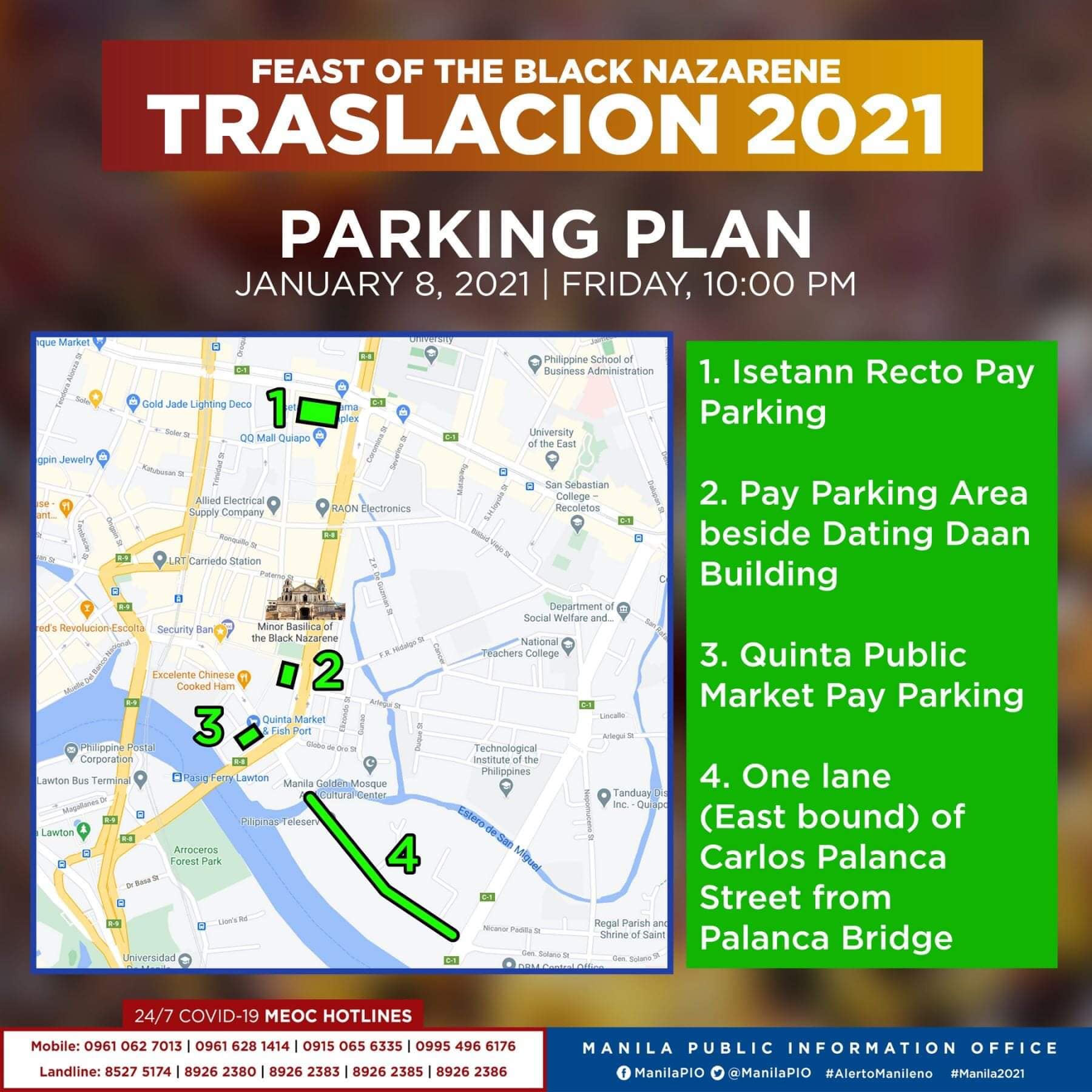 Traslacion Parking plan on January 8, 2021 (10pm onwards) - Recto, Dating Daan, Quinta Public Market, Carlos Palanca St.