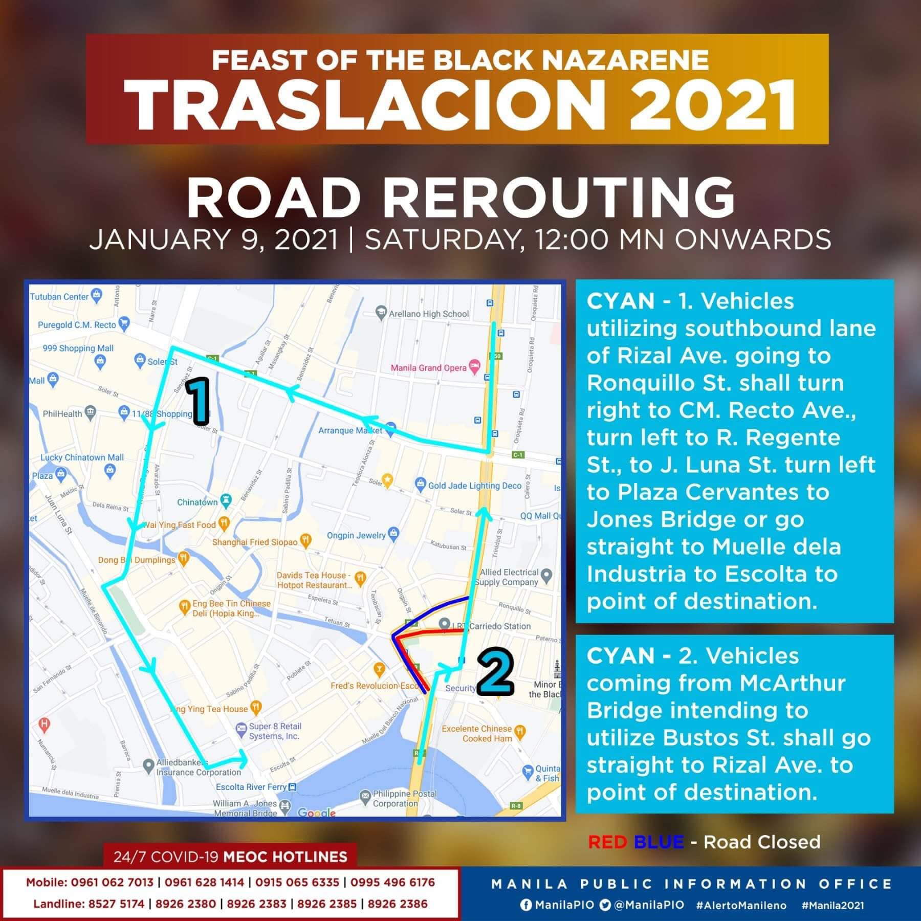 Traslacion Road rerouting on January 9, 2021 (12am onwards) - Recto Ave, Regente St to J Luna St., Plaza Cervantes; MacArthur Bridge to Bustos, to Rizal Ave