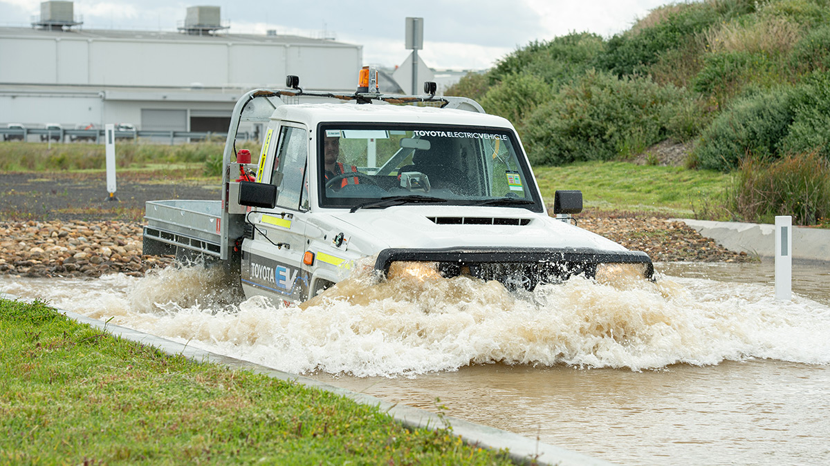 Electric Land Cruiser on water